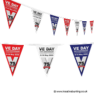 VE Day 75th Anniversary Red White & Blue Design Bunting